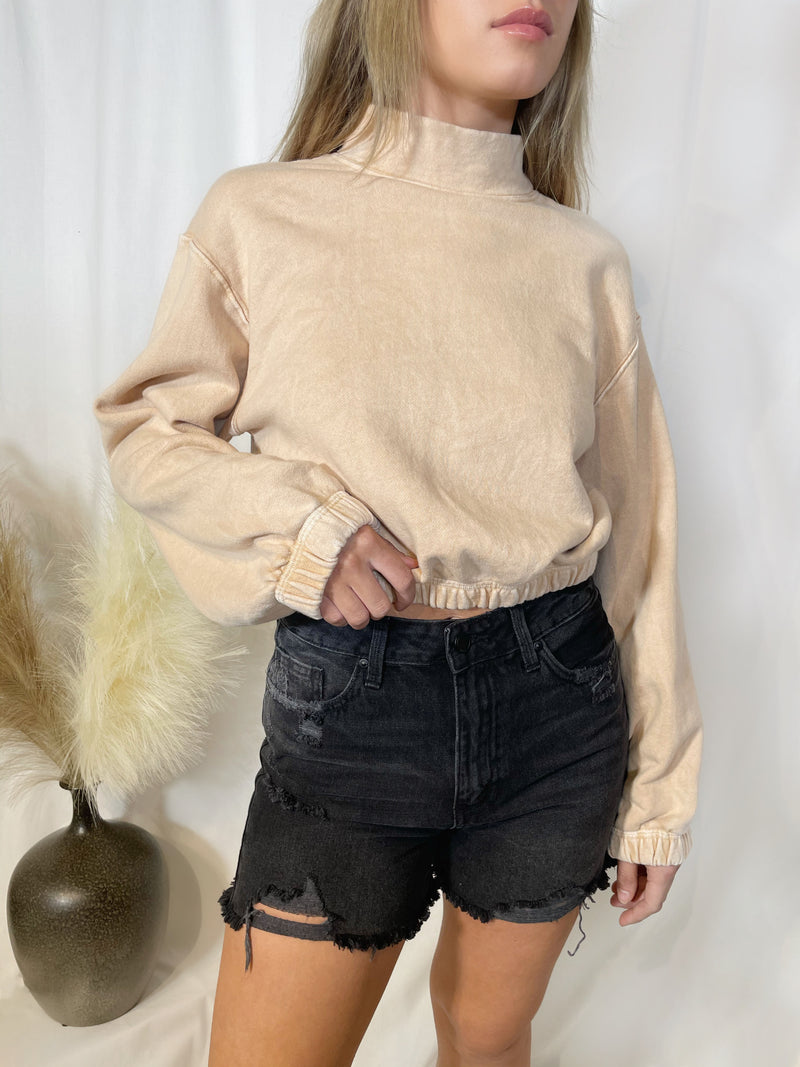 Jenna Mock Neck Sweatshirt - Tan