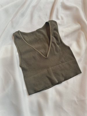 Kaye Plunge Neck Crop - Dusty Olive