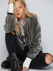 Ruched Velvet Bomber - Free People - BIRD BEE - 2