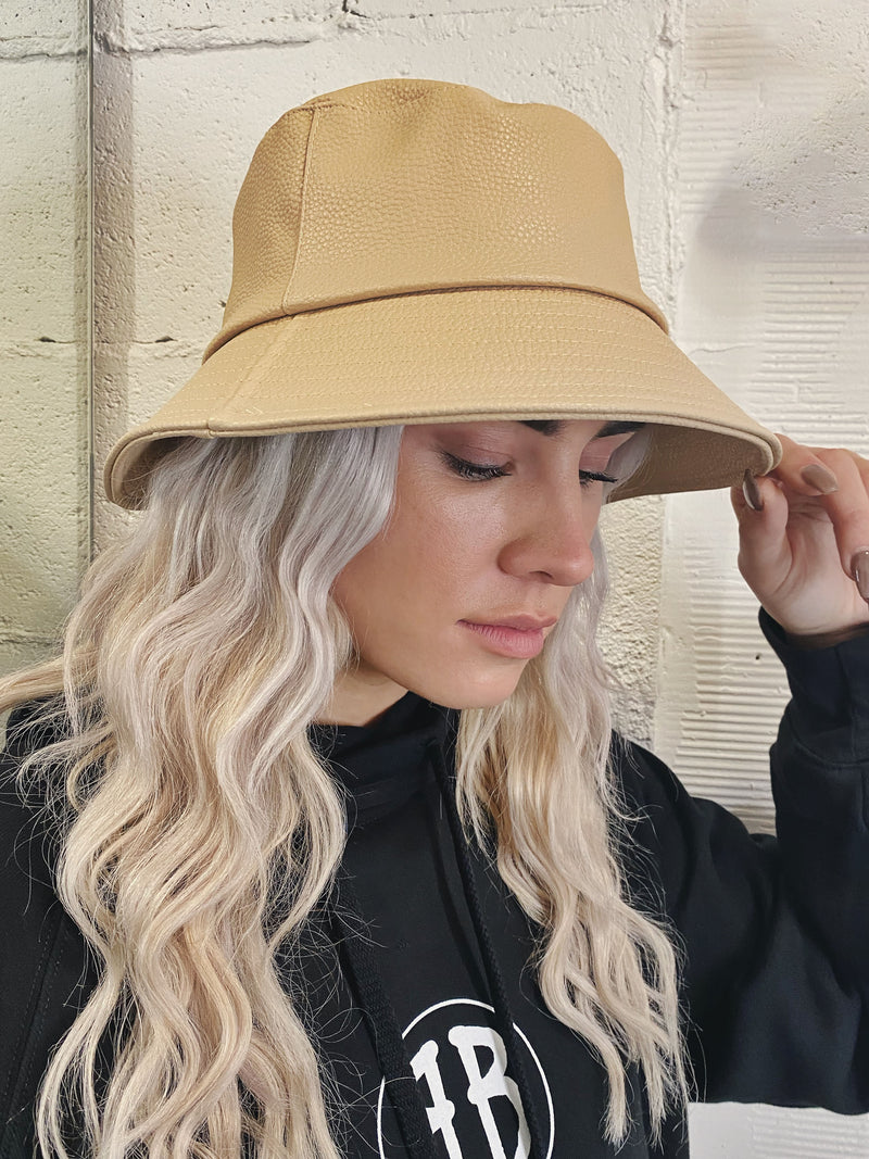 Faux Leather Pebble Bucket Hat - Tan