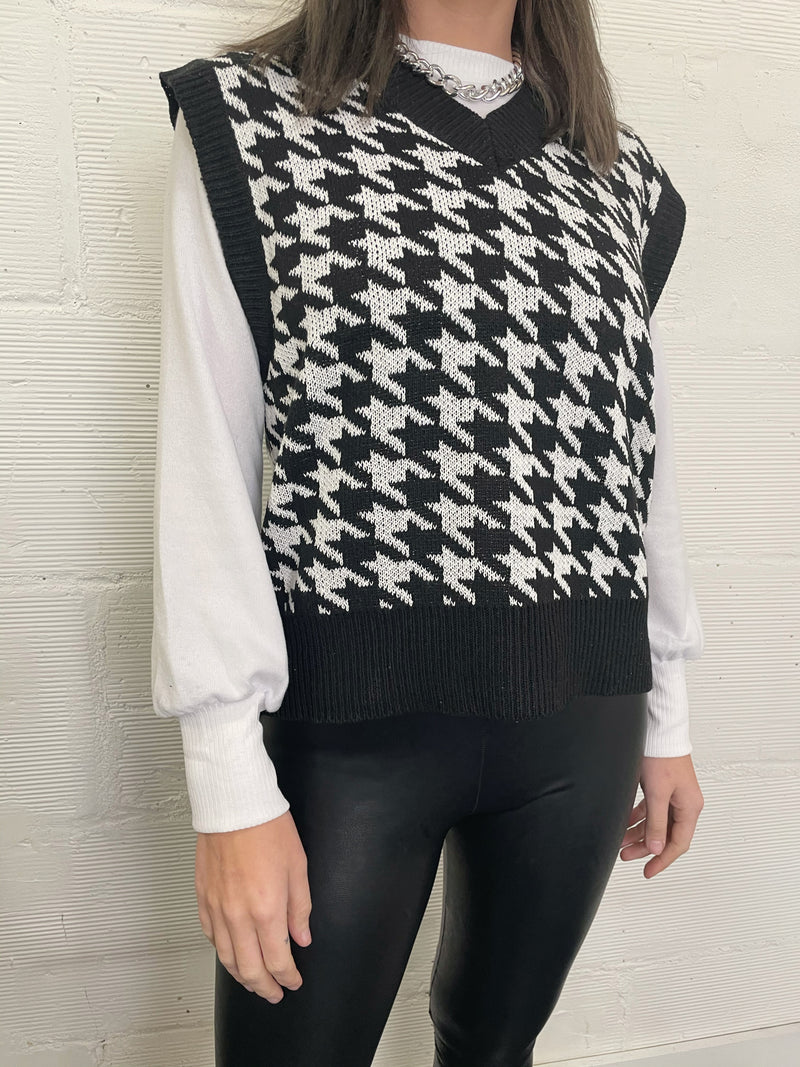 Kyoto Houndstooth Sweater Vest - Black