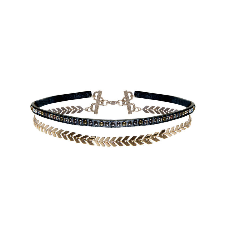 Wild Child Gold & Black Double Choker