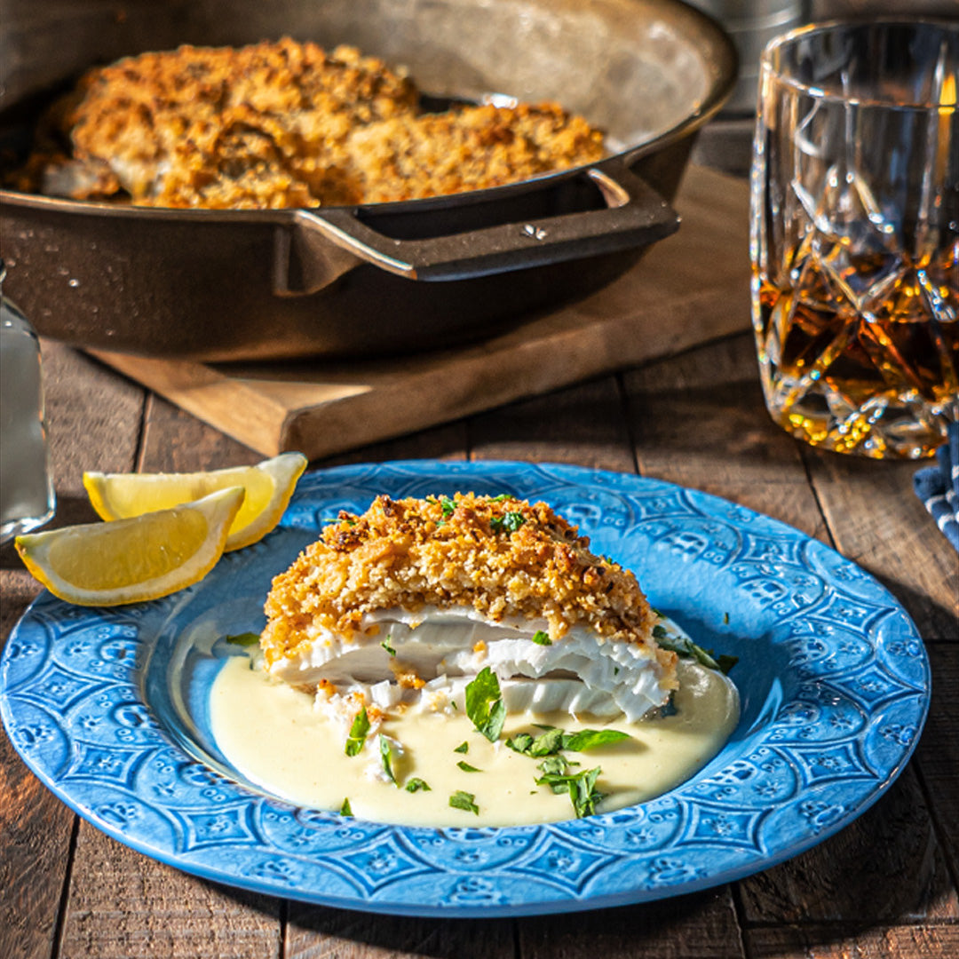 Buttery Cracker Crusted Halibut in Hollandaise Sauce