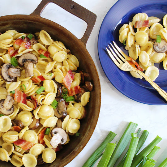 Orecchiette with Mushrooms and Bacon