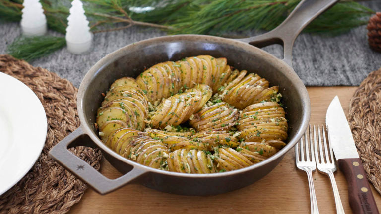 cast iron skillet hasselback potatoes