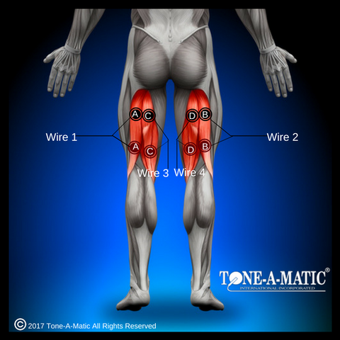 electrode pad placement chart for hamstring muscles