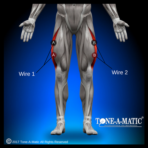 electrode pad placement for vastus lateralis