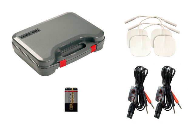 Tone-A-Matic TENS device accessories (pads, wires, battery, case)