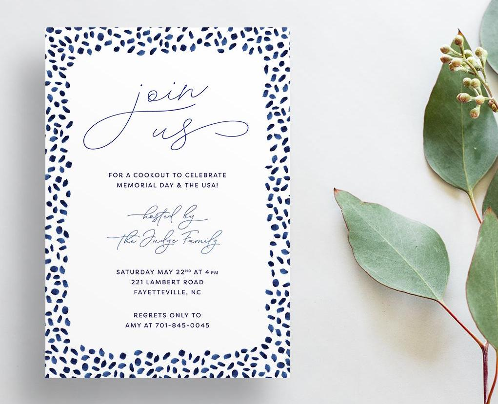Dotty Blue Invitations