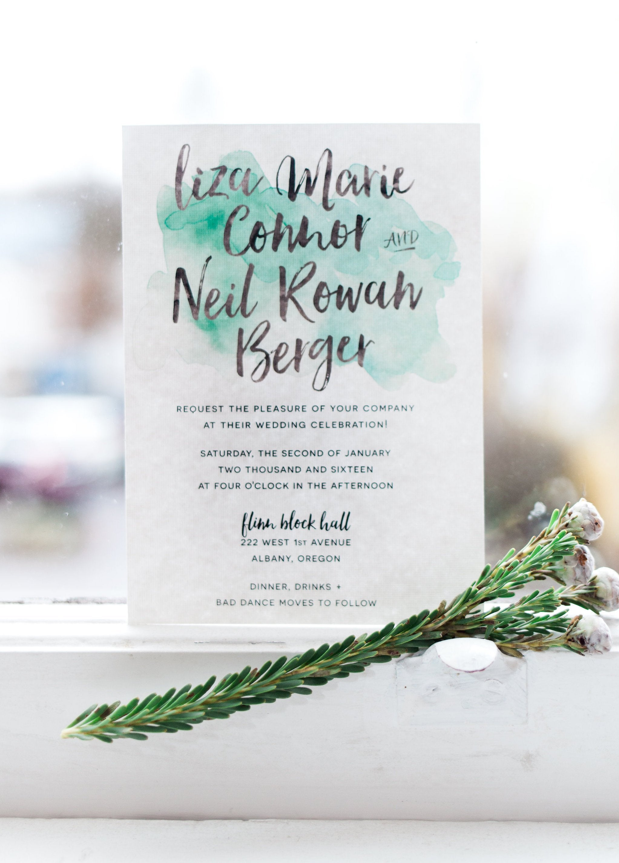 Watercolor Splash Wedding Invitations (any color!)