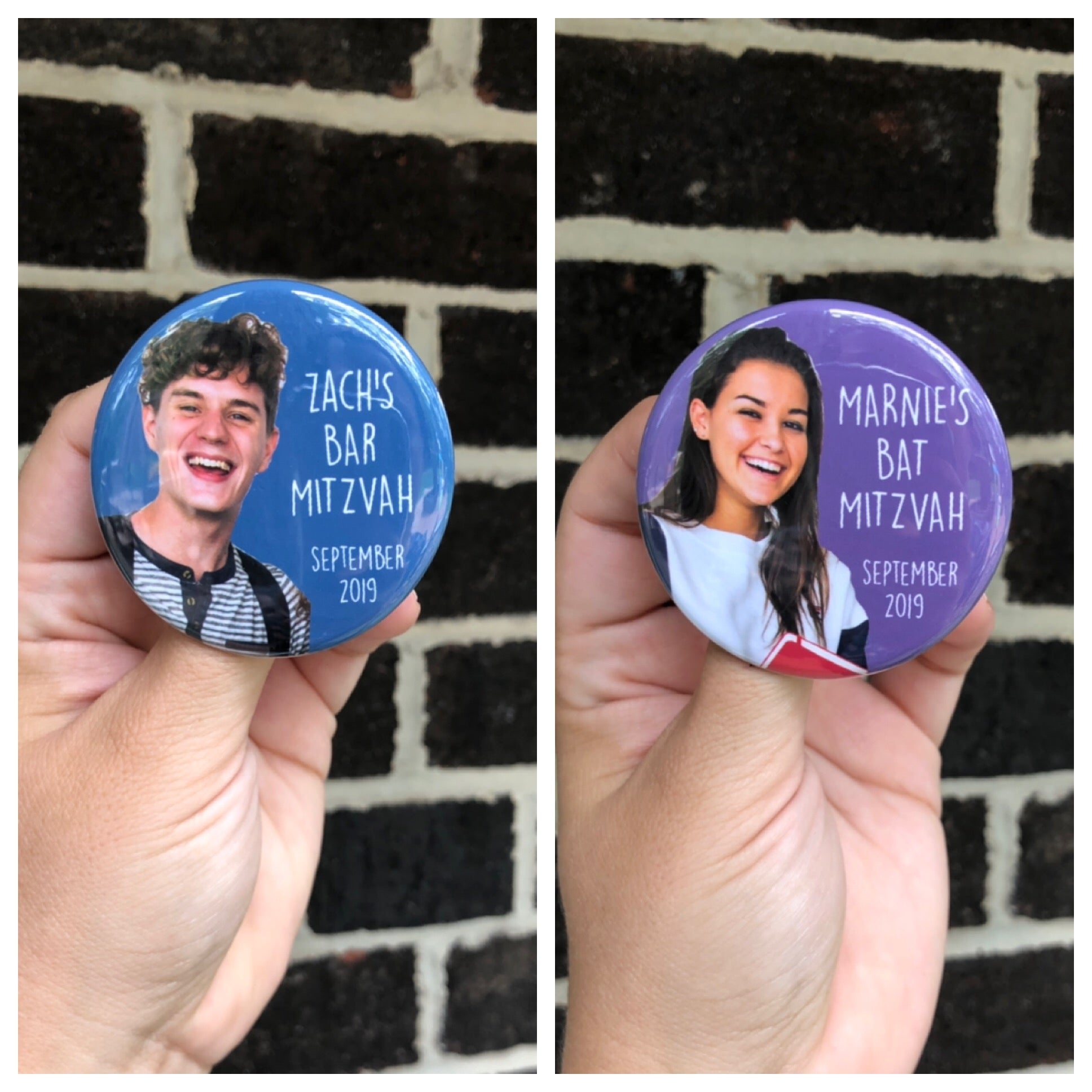 button // bar/bat mitzvah photo // custom