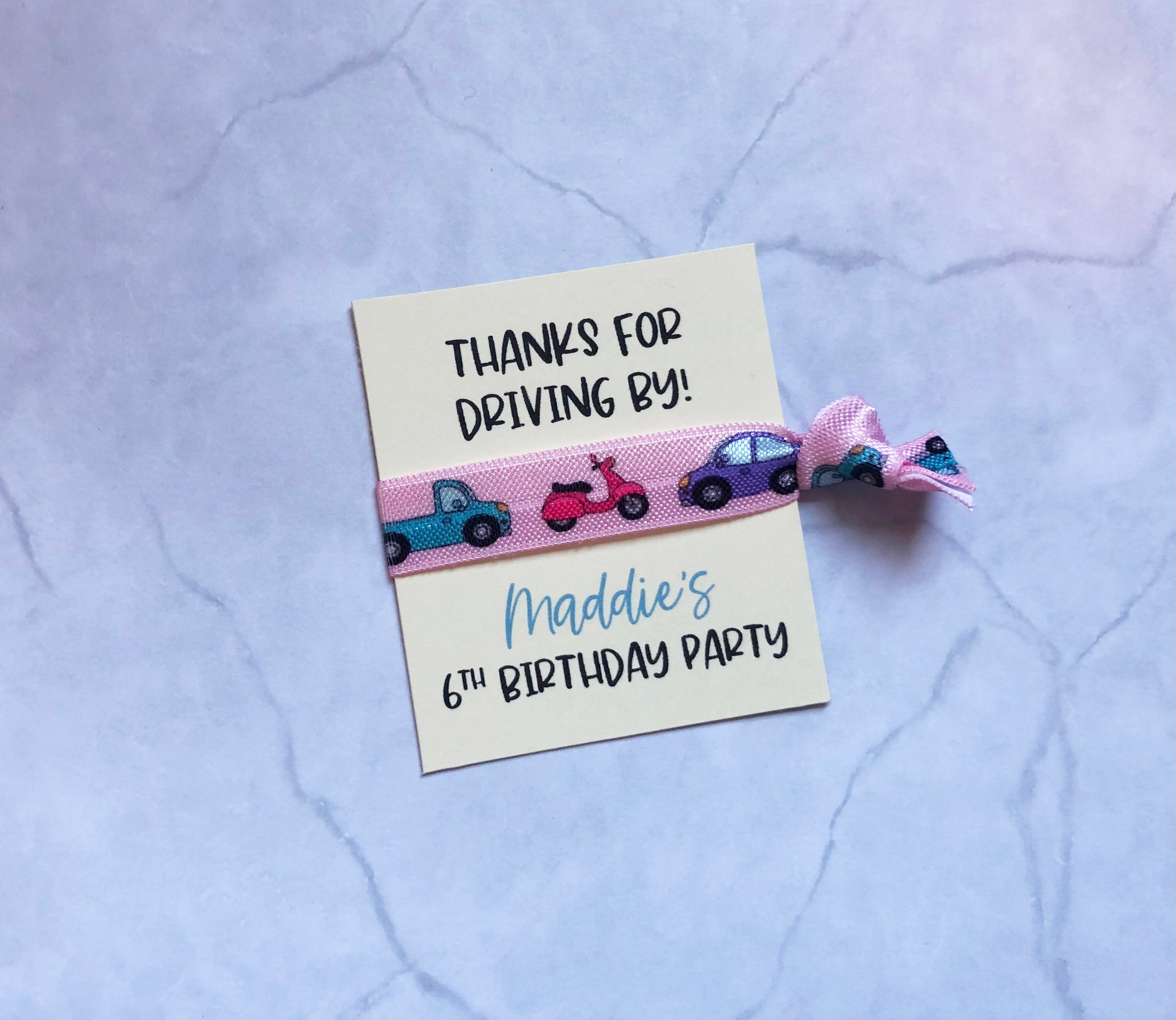 hair tie // thanks for driving by! // custom