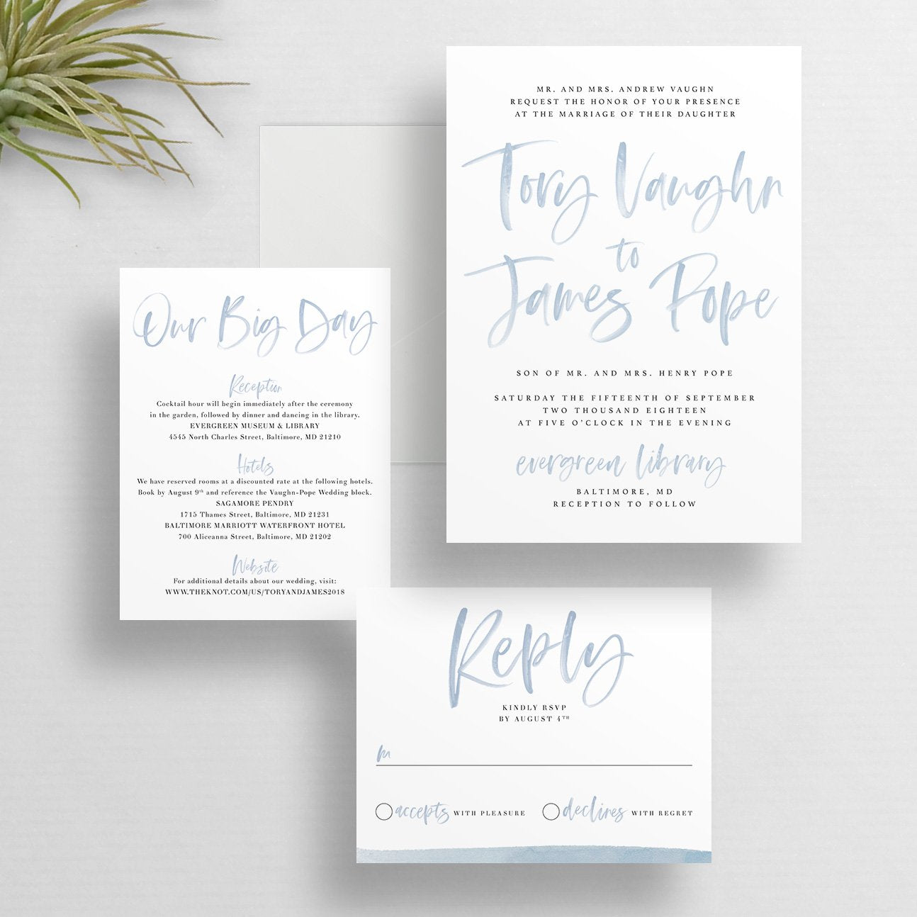 Watercolor Lettering Wedding Invitations (any color!)