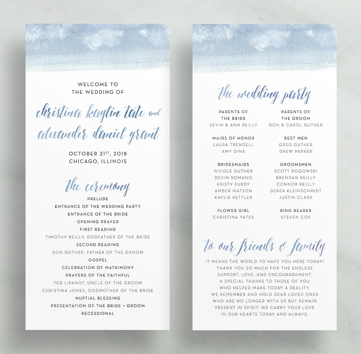 Watercolor Calligraphy Wedding Programs (any color!)