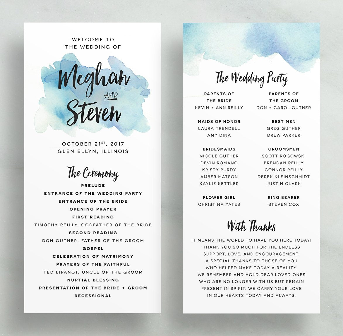 watercolor splash wedding programs blues greens dunkirkdesigns
