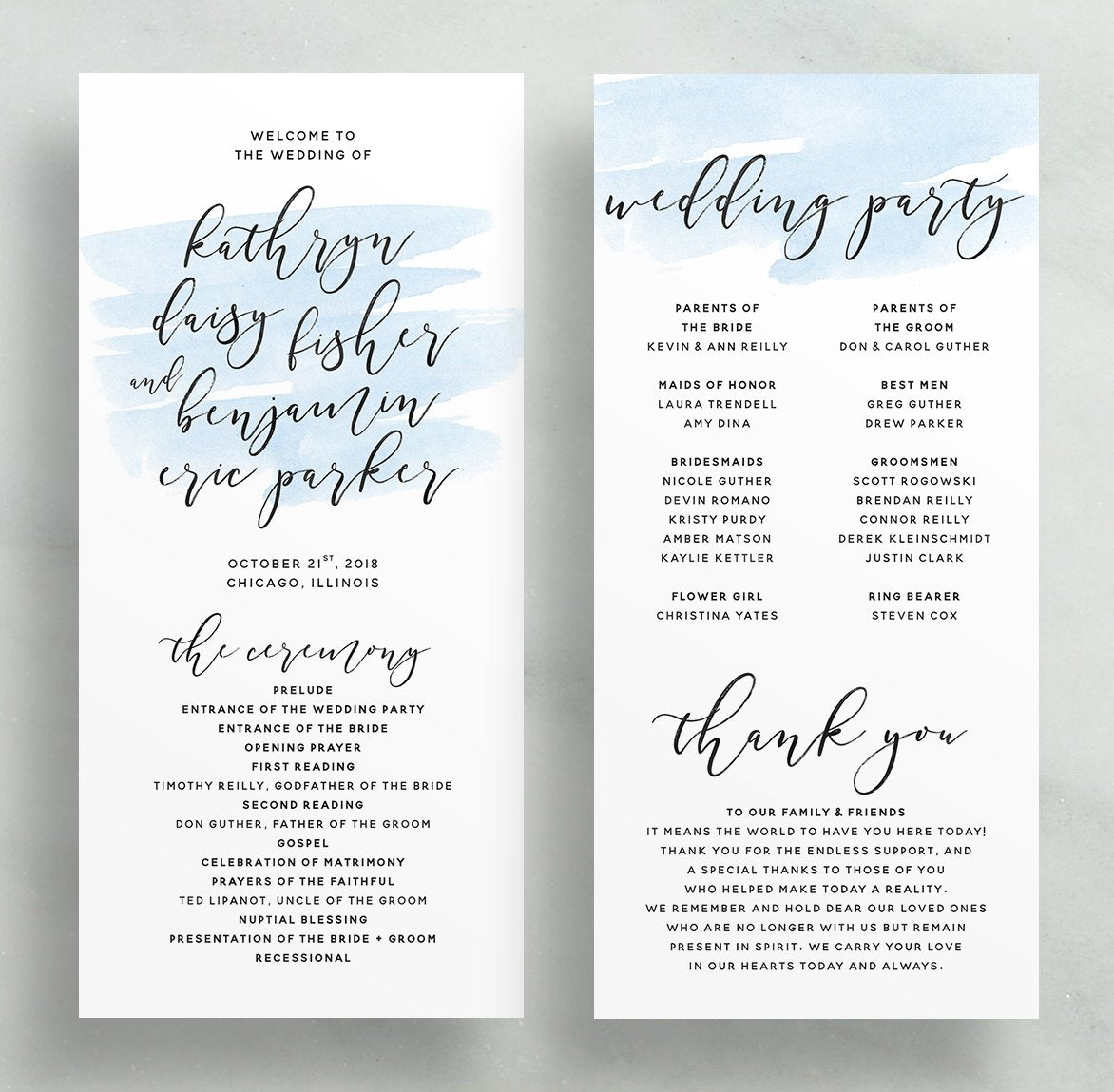 Simple Calligraphy Wedding Programs (any color!)