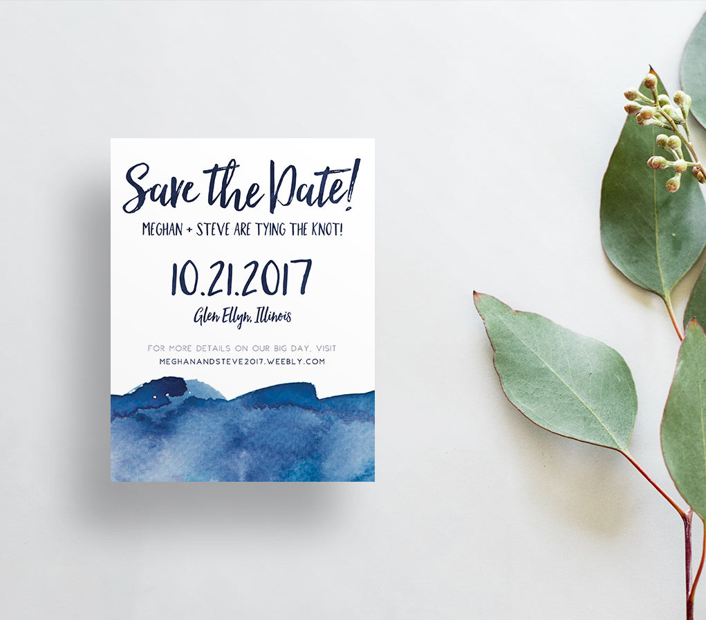 Watercolor Ombre Save the Dates / Blues