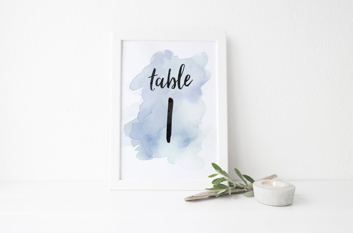 Watercolor Splash Table Numbers