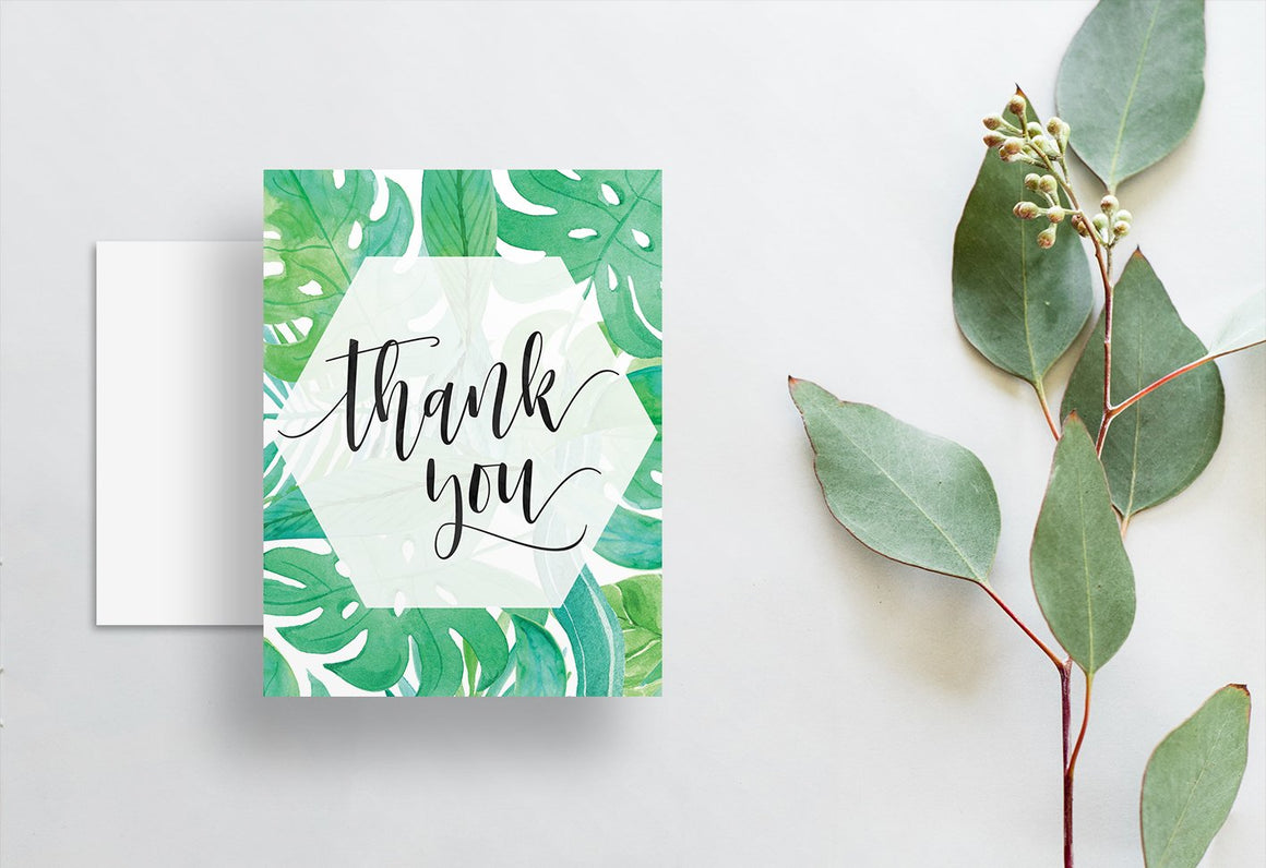 Watercolor Floral Thank You Cards  /  Blues & Greens