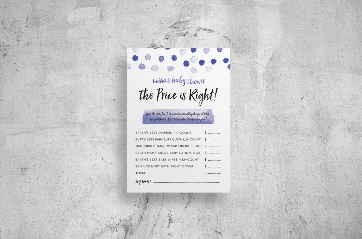 blue polka dot baby shower games // custom // digital files