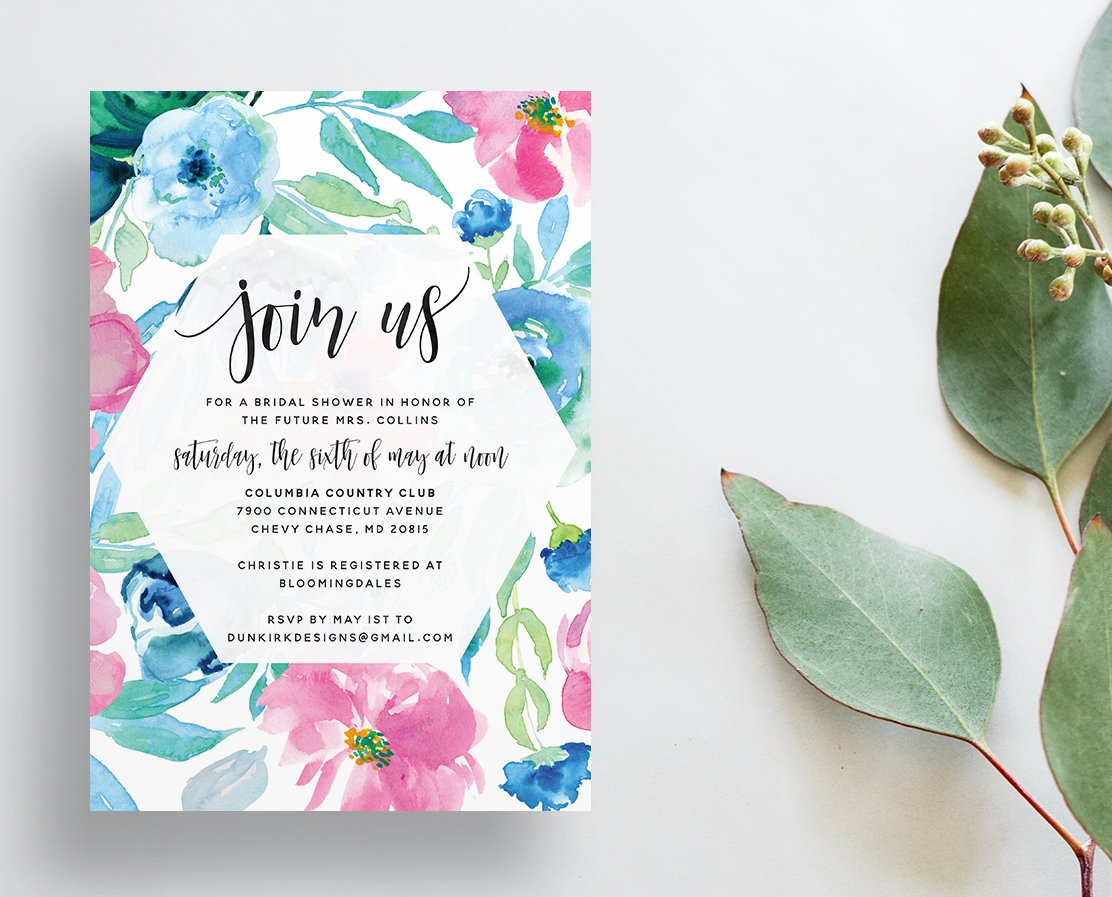 Watercolor Floral Invitations