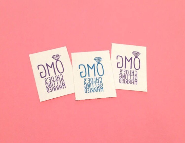 temporary tattoo // OMG // custom // blue or purple