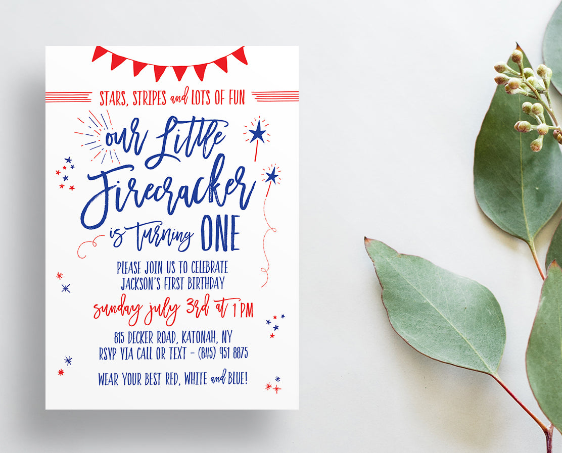 Firecracker Fourth of July Birthday Party Invitations