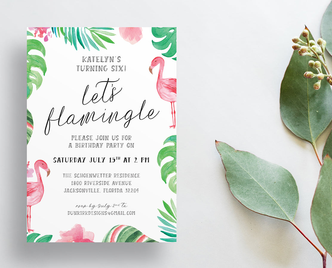 Flamingo Palm Party or Shower Invites