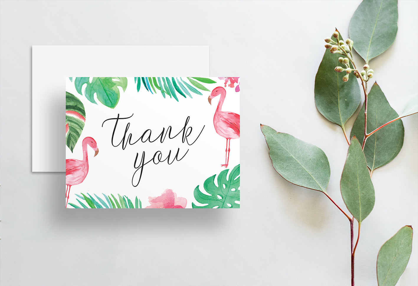 New Flamingo Palm Thank You Cards - dunkirkdesigns TD64