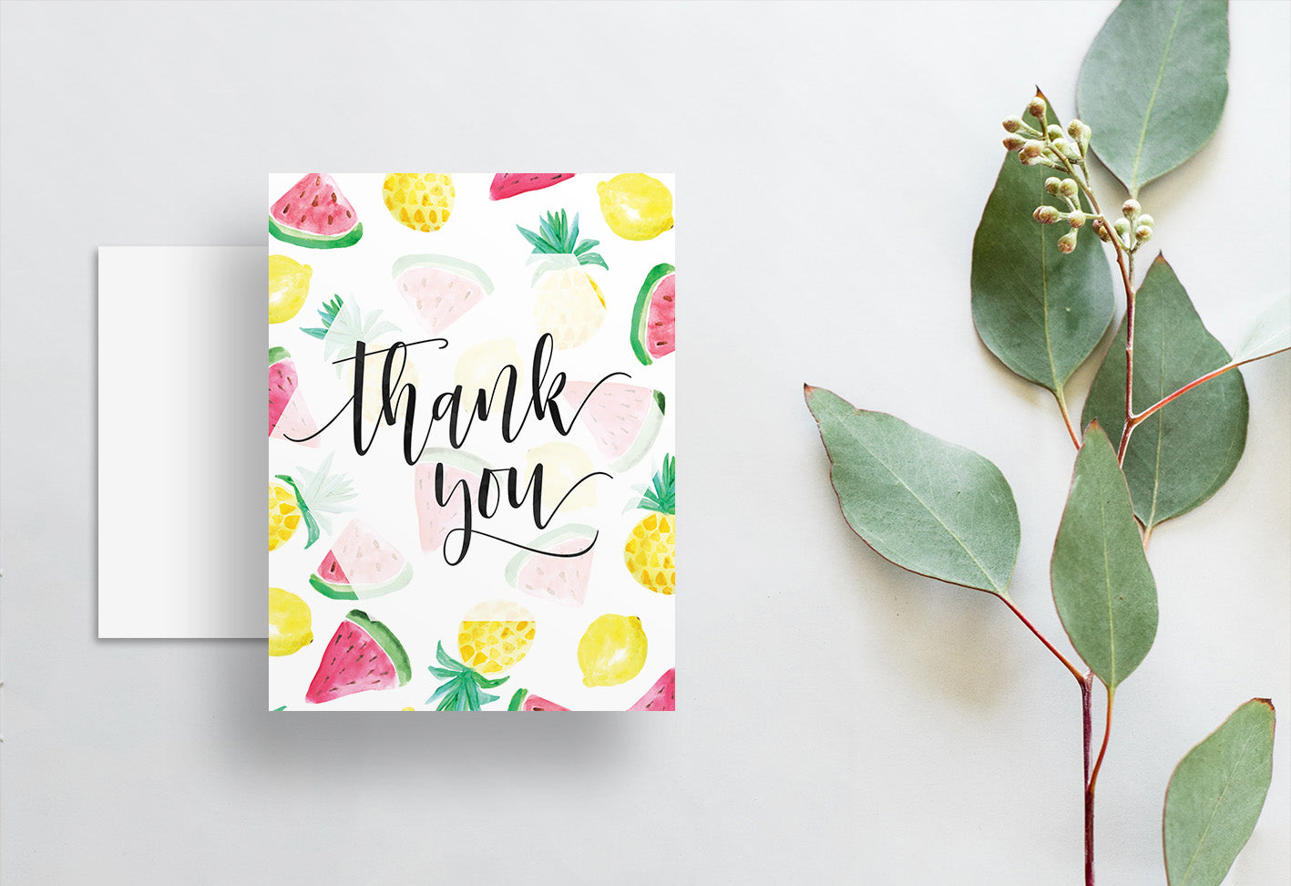 Watercolor Fruits Thank You Cards