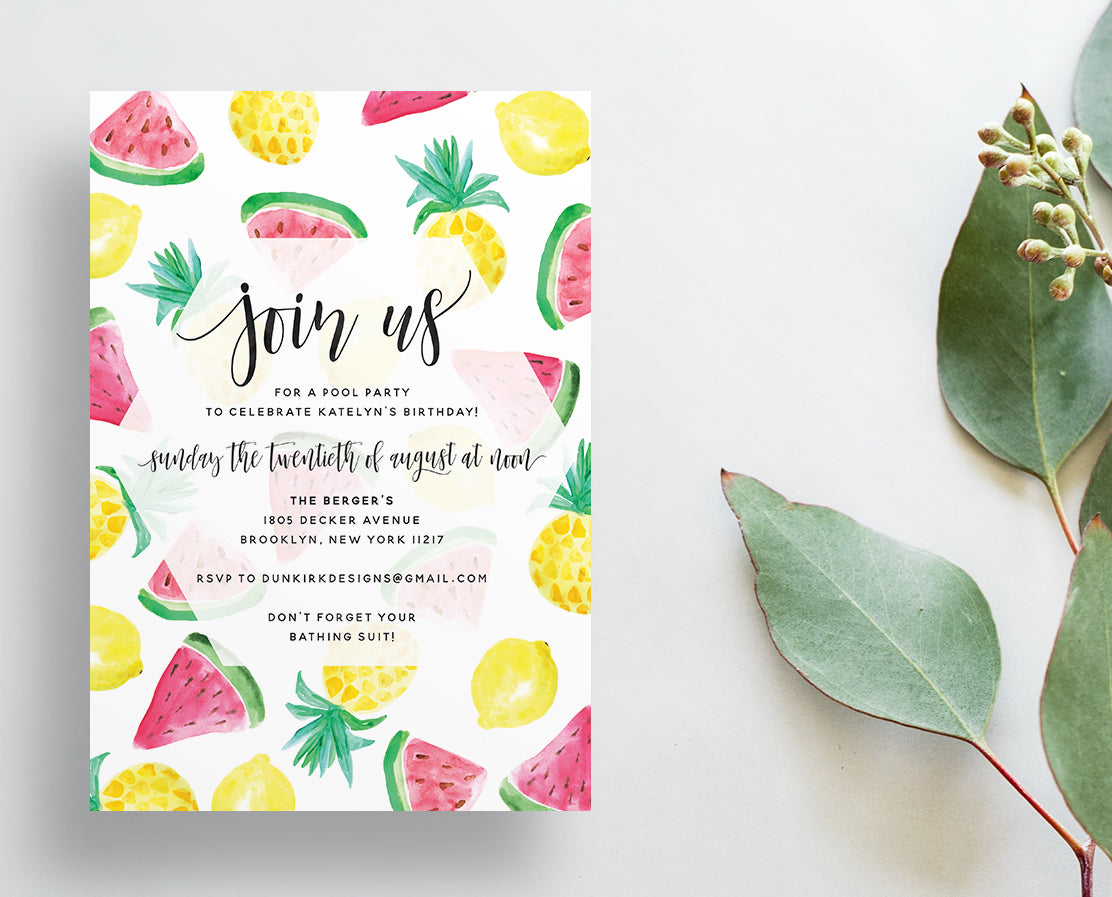 Watercolor Fruits Party or Shower Invites