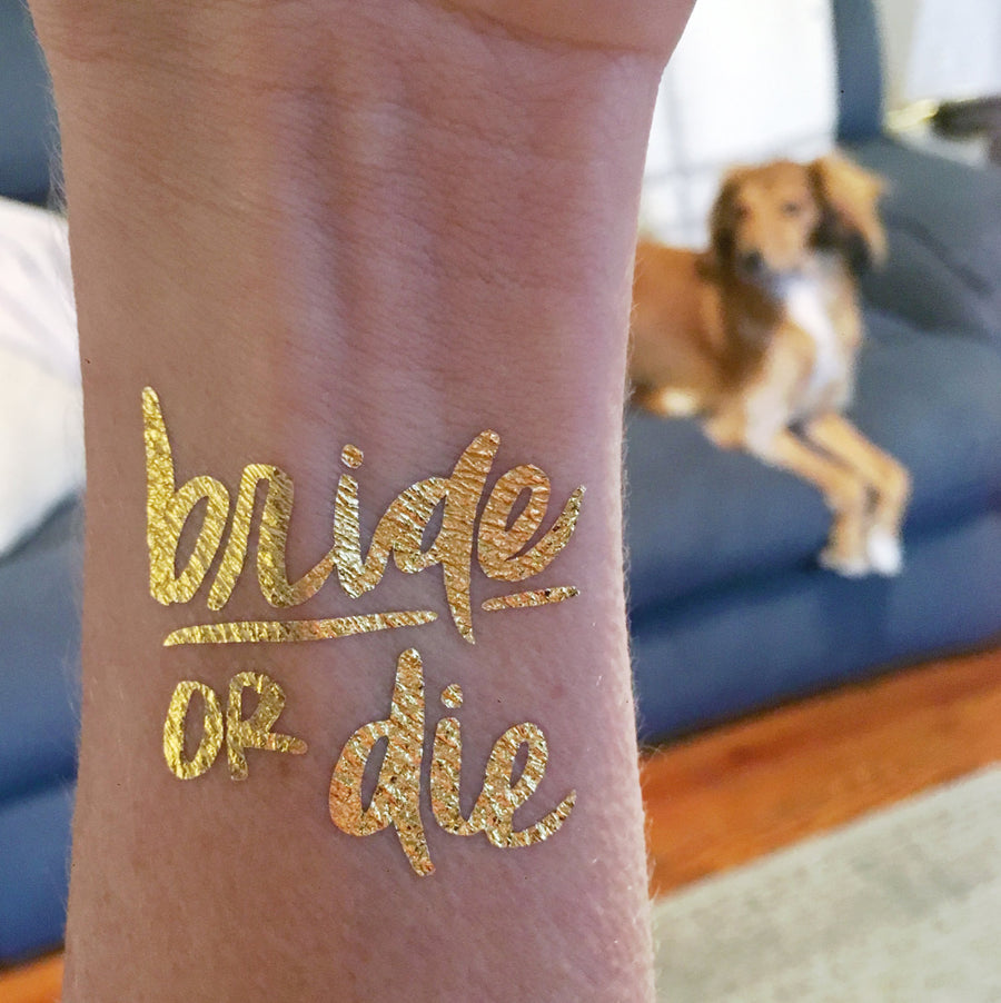 Bride or Die Flash Tatts - Metallic Gold