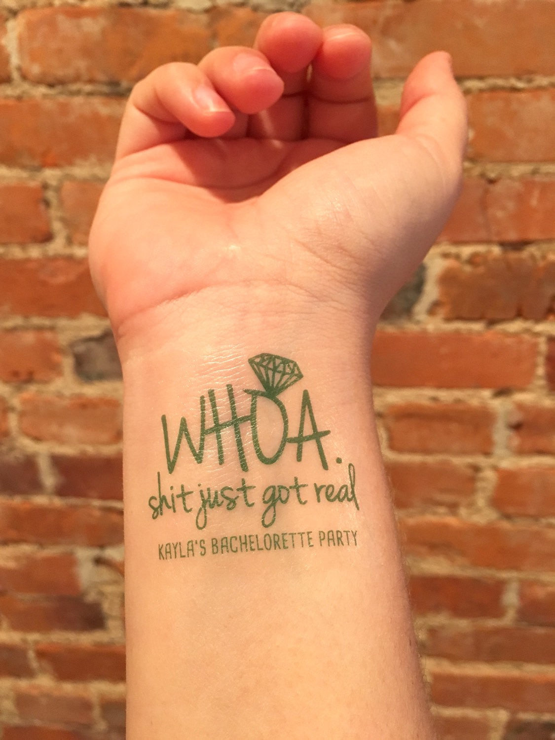 temporary tattoo // shit just got real // custom // pink or green
