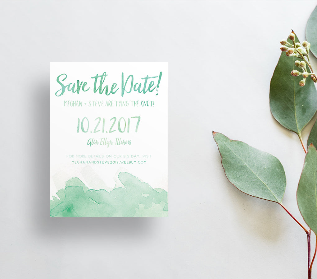 Watercolor Splash Save the Dates / Greens