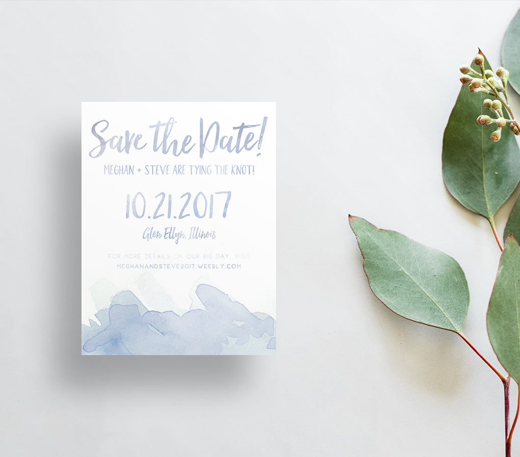 Watercolor Splash Save the Dates / Blues