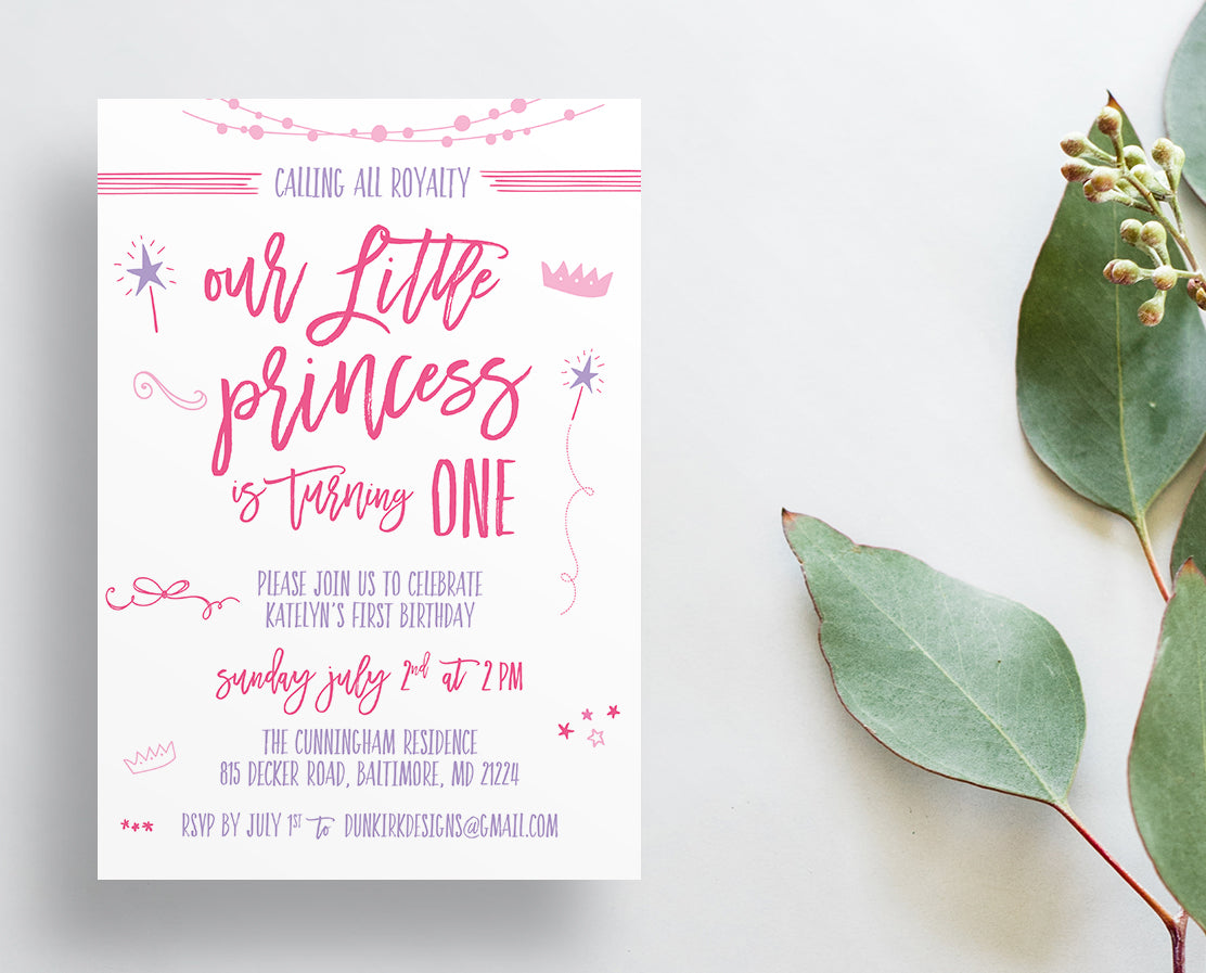 Princess Birthday Party Invites
