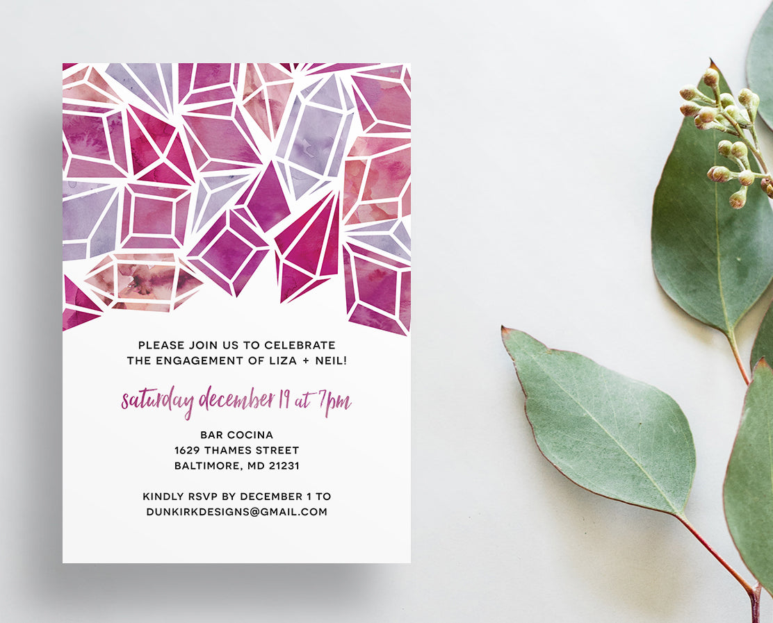 Watercolor Jewels Party or Shower Invites