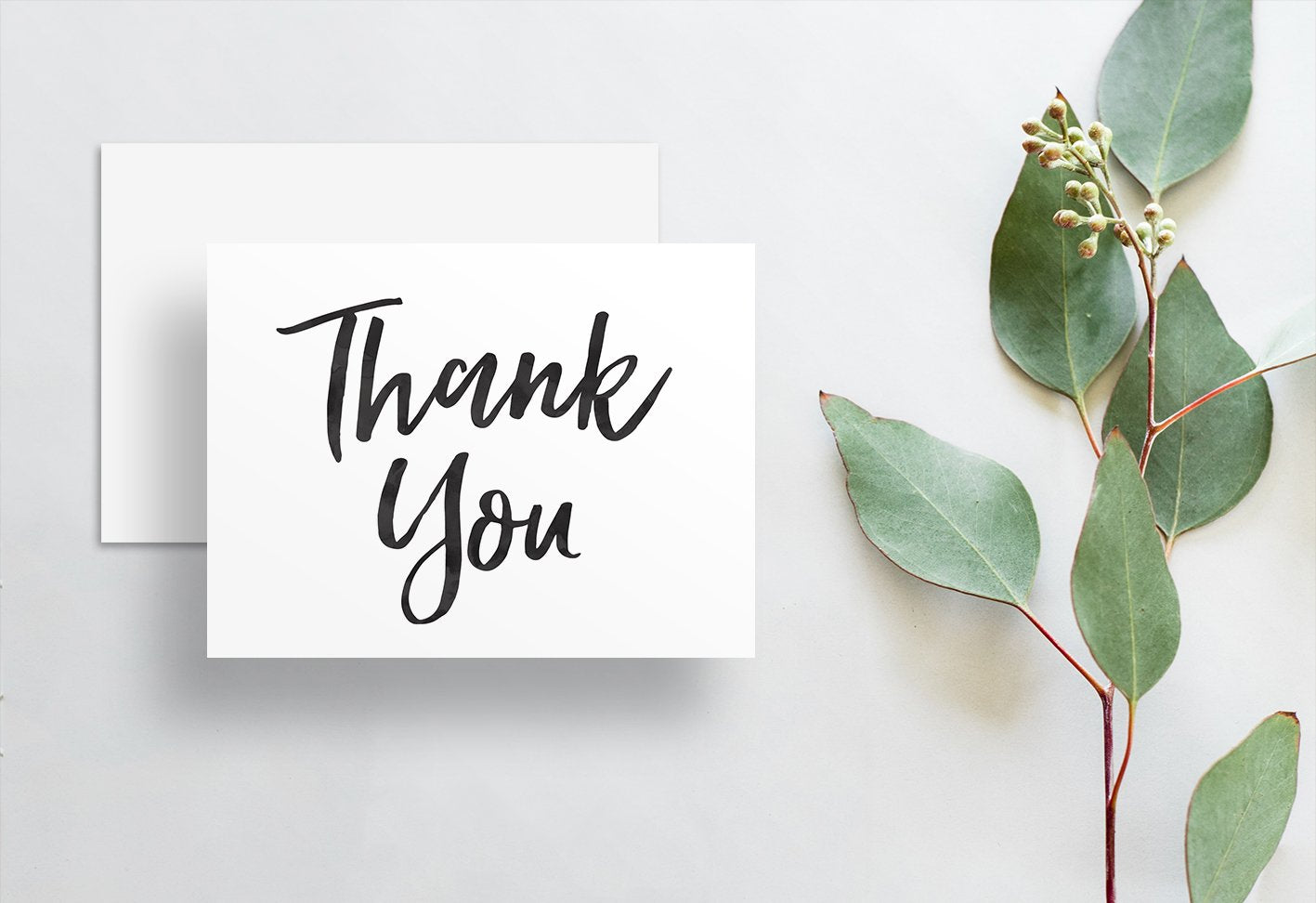 Simple Brush Lettering Thank You Cards