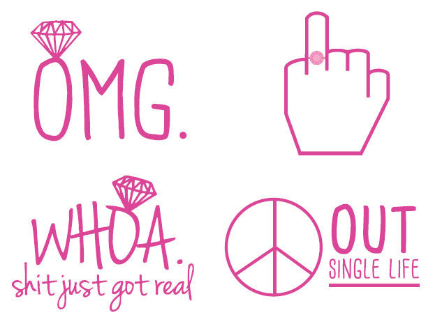 temporary tattoos // set of 4 // hot pink