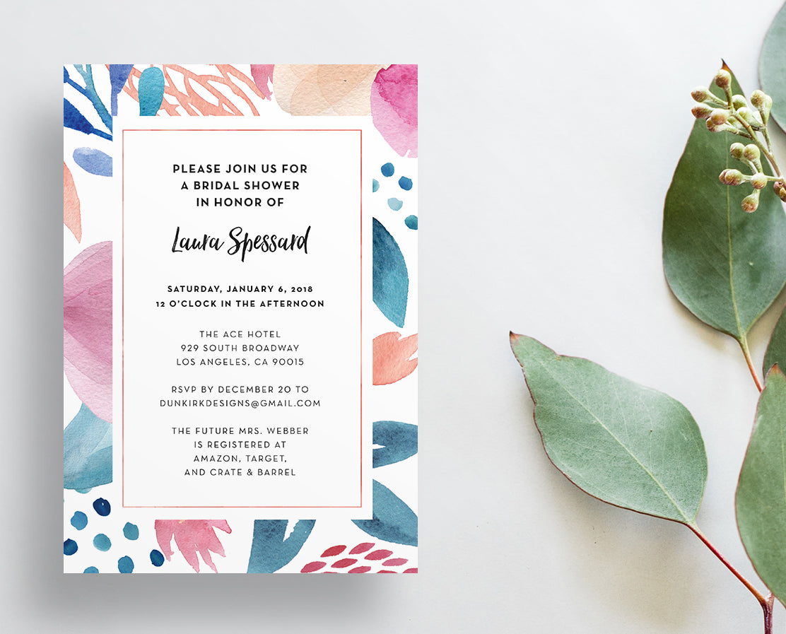 Tropical Floral Party or Shower Invites