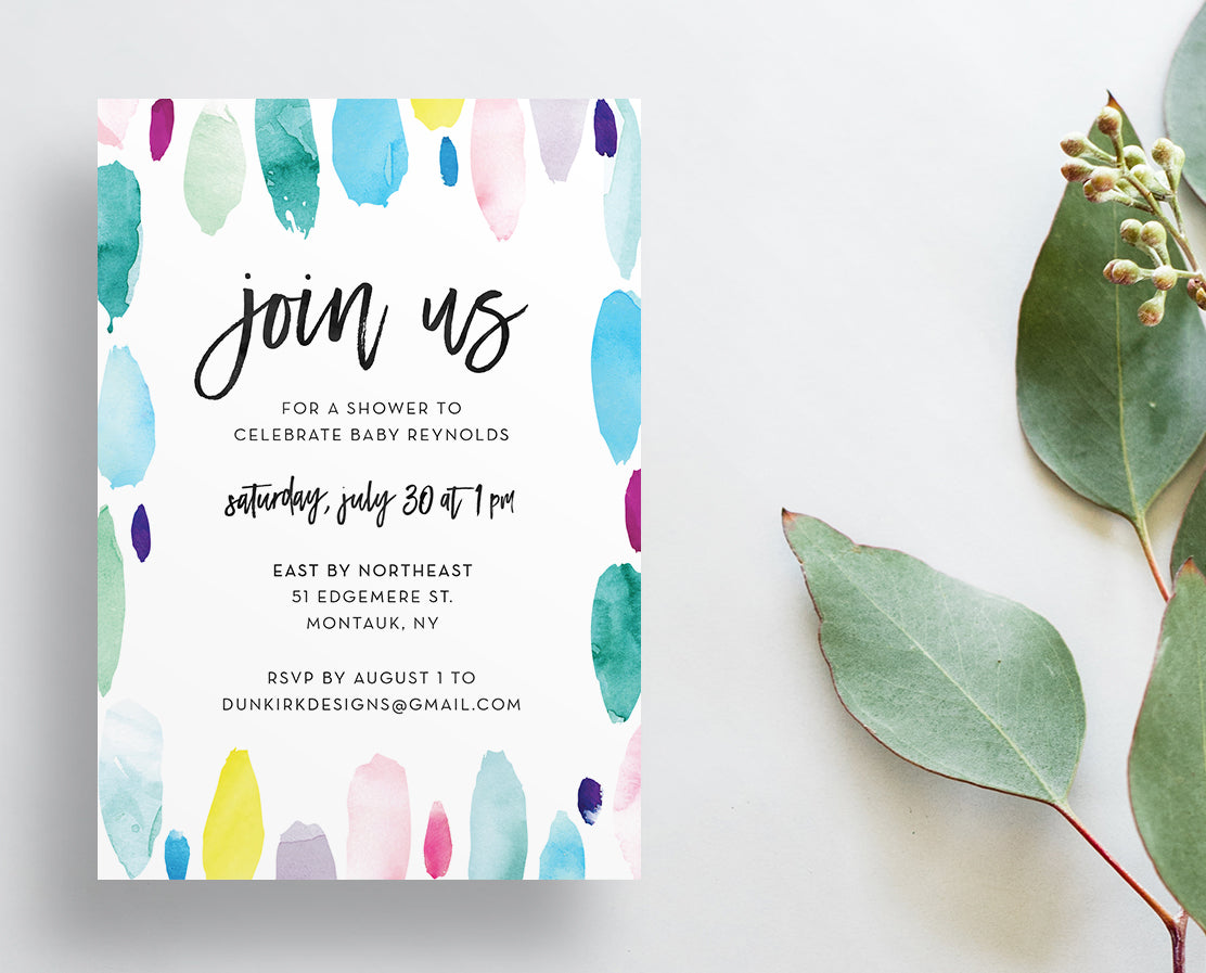 Watercolor Strokes Invitations