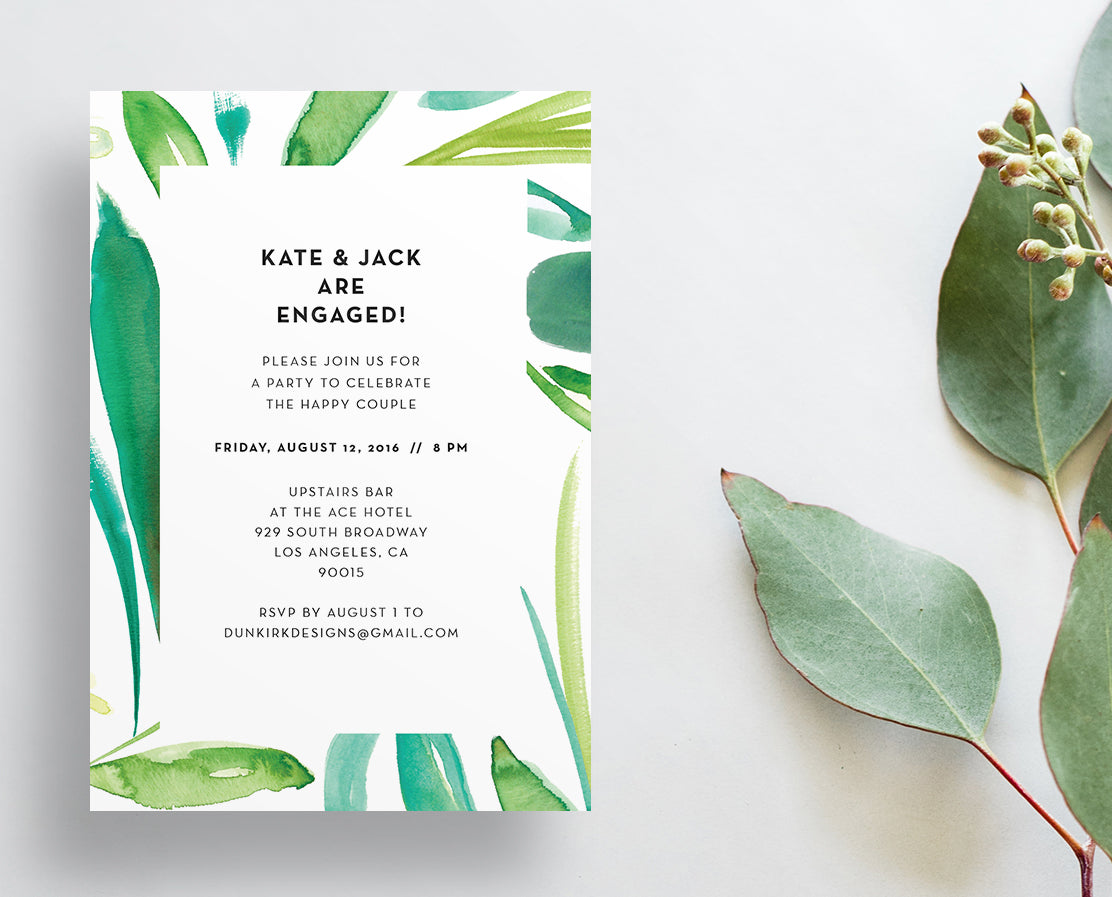 Watercolor Leaves Party or Shower Invites