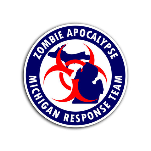 Zombie Apocalypse Michigan Response Team Full Color Decal - Great Lakes Made