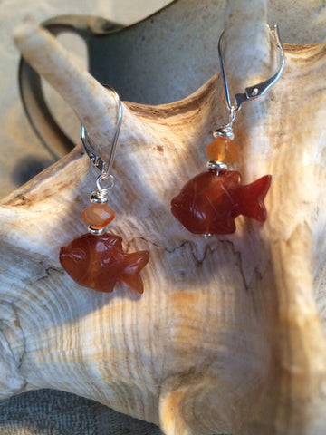 Fish earrings in carnelian will go swimmingly well with your outfits! - Great Lakes Made