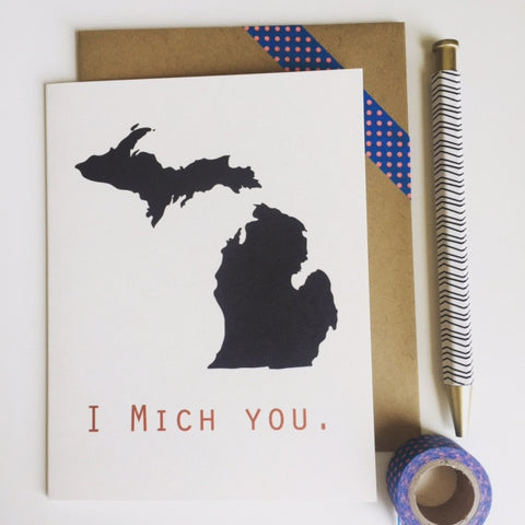 I Mich You - Greeting Card - Great Lakes Made