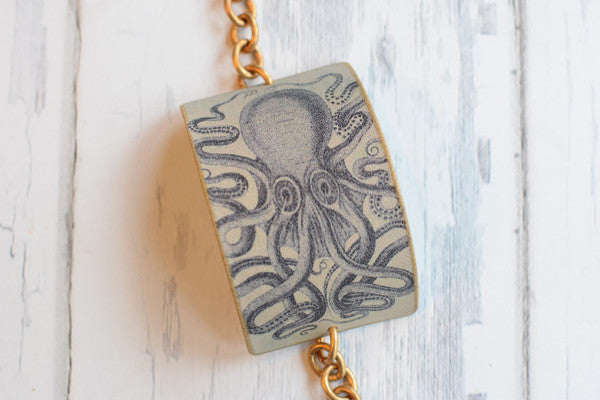 Octopus Vintage Image Cuff Bracelet - Great Lakes Made - 1
