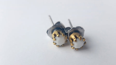 Eva Small Vintage White Studs - Stainless Steel Posts - Great Lakes Made - 1
