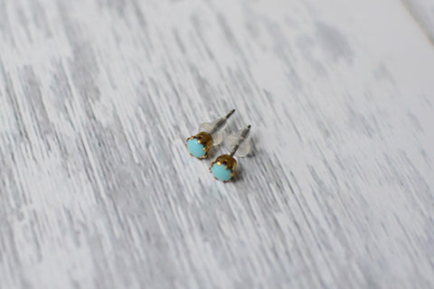 Vintage Tiny Turquoise Glass Studs - Stainless Steel Posts