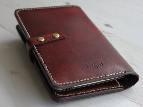 Leather Notebook Cover with Closure A6 - Brown - Hide & Home - 5