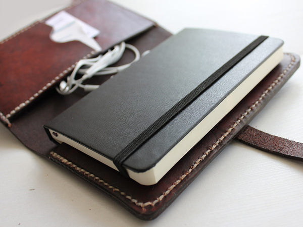 Leather Notebook Cover with Closure A6 - Brown - Hide & Home - 3